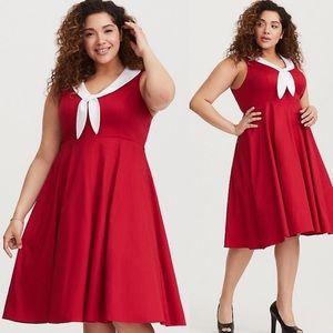 Retro Chic Torrid Red Sateen Swing Dress Womens 24